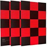 """48 pezzi di pannelli fonoassorbenti, da 2,54 x 30,5 x 30,5 cm 1"""" x 12"""" x 12"""" Nero e blu."""