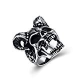 capra Skull cocktail Band Style anello da uomo e da donna Fashion Halloween Natale accessori regalo, Acciaio inossidabile, 58 (18.5), ...