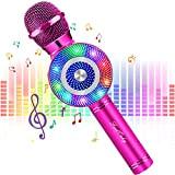 FISHOAKY Microfono Karaoke Bluetooth, 4 in 1 Wireless Microfono Bambini con LED Lampada Flash, Portatile Karaoke Player con Altoparlante per ...