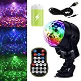 GCBTECH mini Luci Discoteca Con Batteria Ricaricabile LED Colorate Palla 15 colori Effetti Luce Musica Attivata Strobo Luce da Palco ...