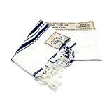 New extra large Messianic Tallit Prayer Shawl Talit navy scuro e oro con Talit bag + Israele kippah